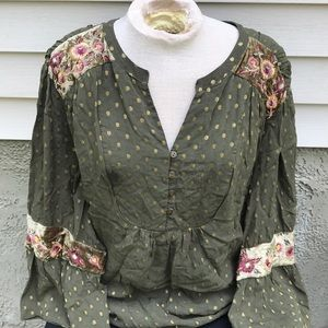 Chico's Sz 4 Green Blouse Top